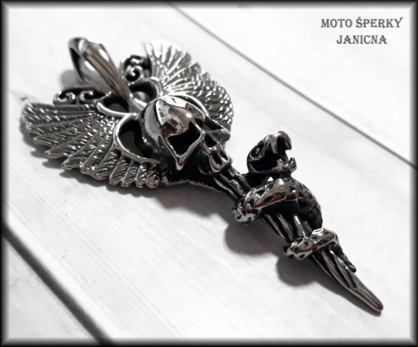 lebka s křídly ocel