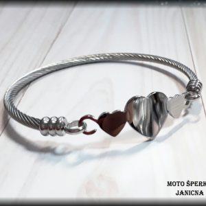 Dámský náramek srdce ocel